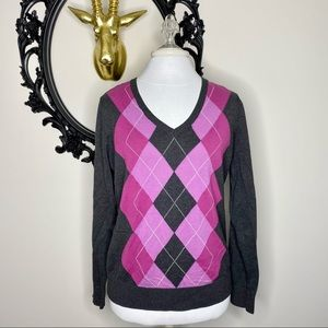 Izod Pink and Gray Argyle Sweater